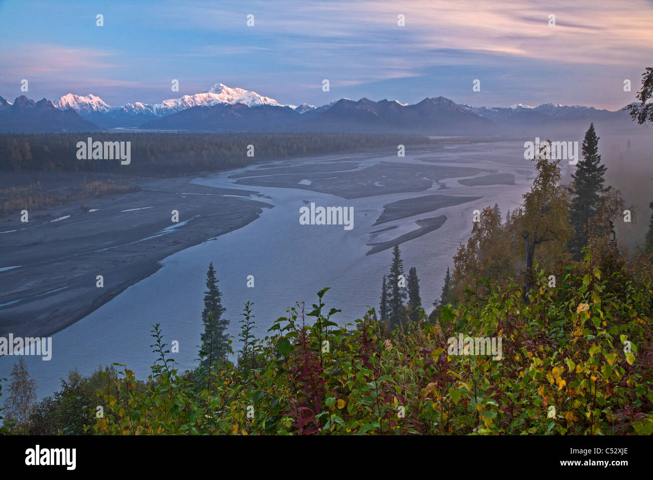 Scenic southside view of Mt. Mckinley, Alaska Range and the Chulitna River at sunset from the George Parks Highway, - Stock Image