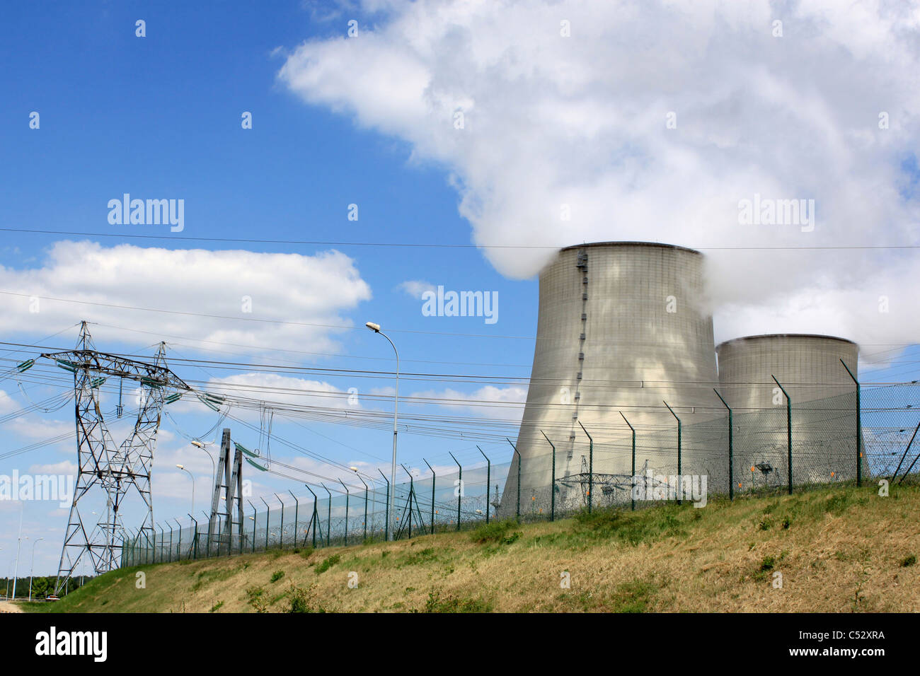 nuclear power plant in operation for production of electrical energy - Stock Image