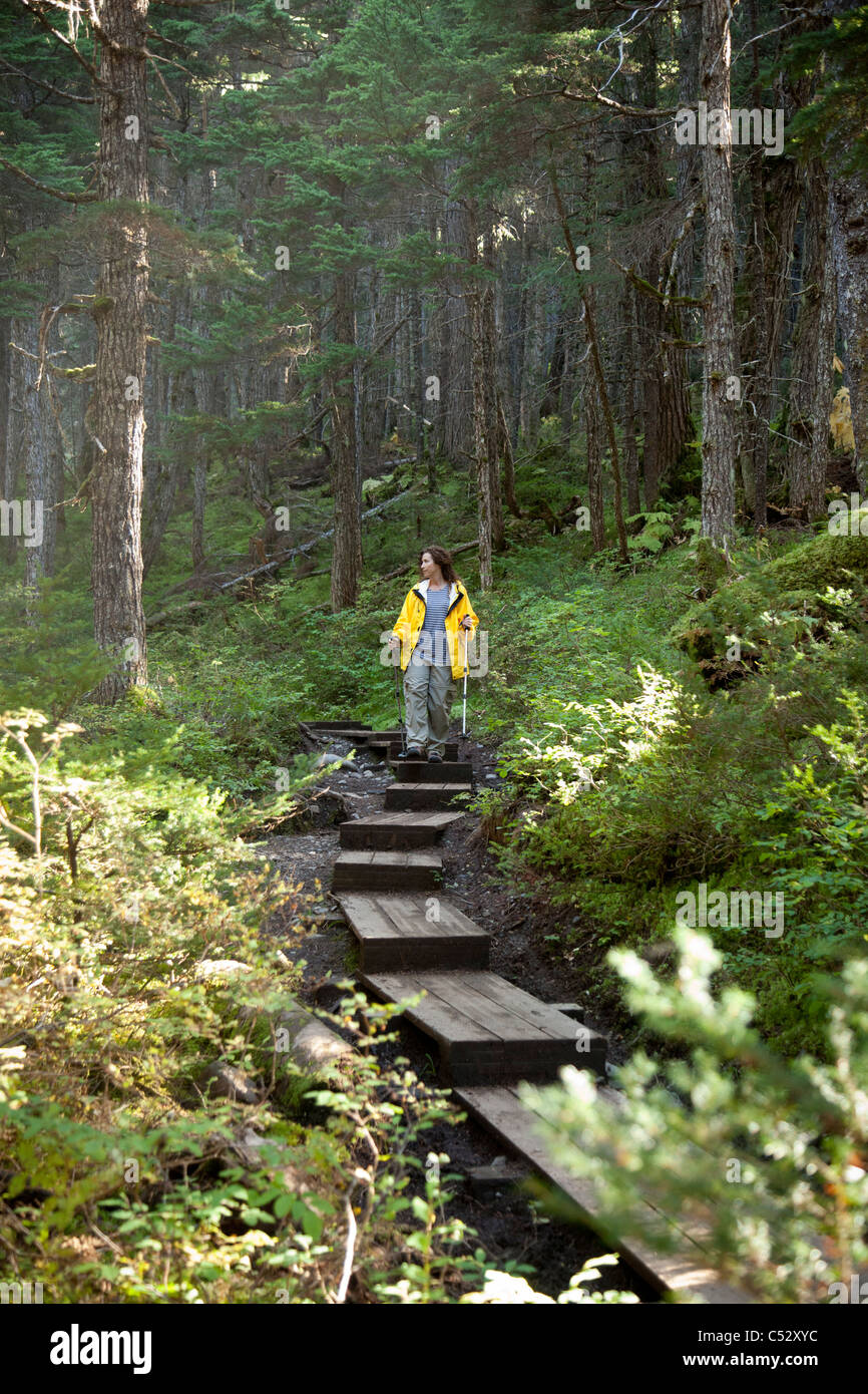Woman hiking on a boardwalk path along Winner Creek Trail in a boreal rain forest near Girdwood, Chugach National - Stock Image