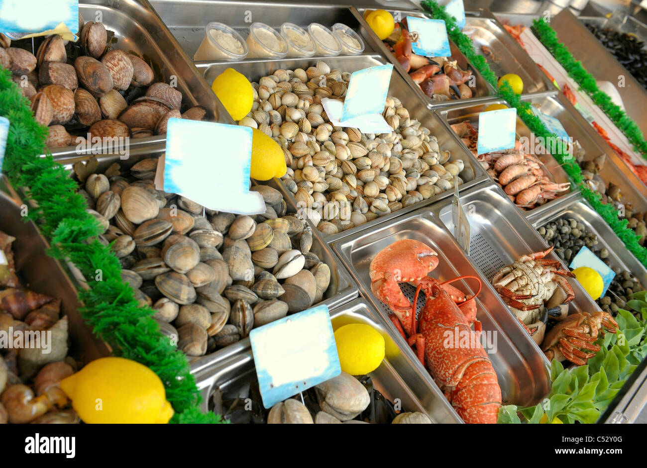 Show-window of seafood in the sea market - Stock Image