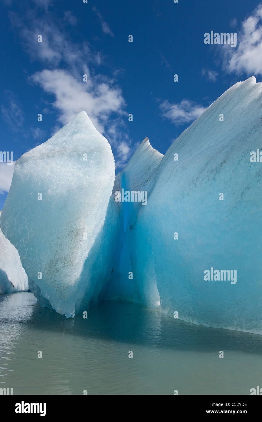 Sunny view of icebergs and Mendenhall Glacier terminus in Mendenhall Lake, Southeast Alaska, Summer - Stock Image