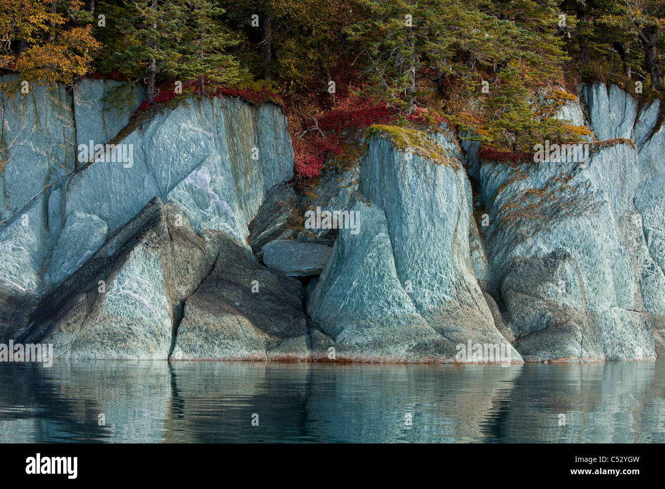 Fall colors line the cliffs along the shoreline of Tracy Arm-Fords Terror Wilderness, Alaska Stock Photo