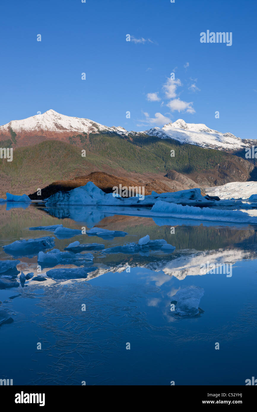 Ice forms along the shoreline of Mendenhall Lake near Juneau, Tongass National Forest, Southeast Alaska, Autumn - Stock Image