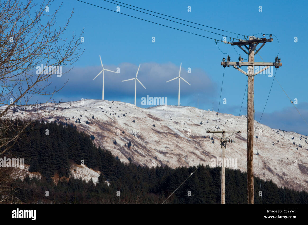 Pillar Mountain Wind Project wind turbines, Kodiak Island with electric poles and lines in the foreground, Alaska Stock Photo