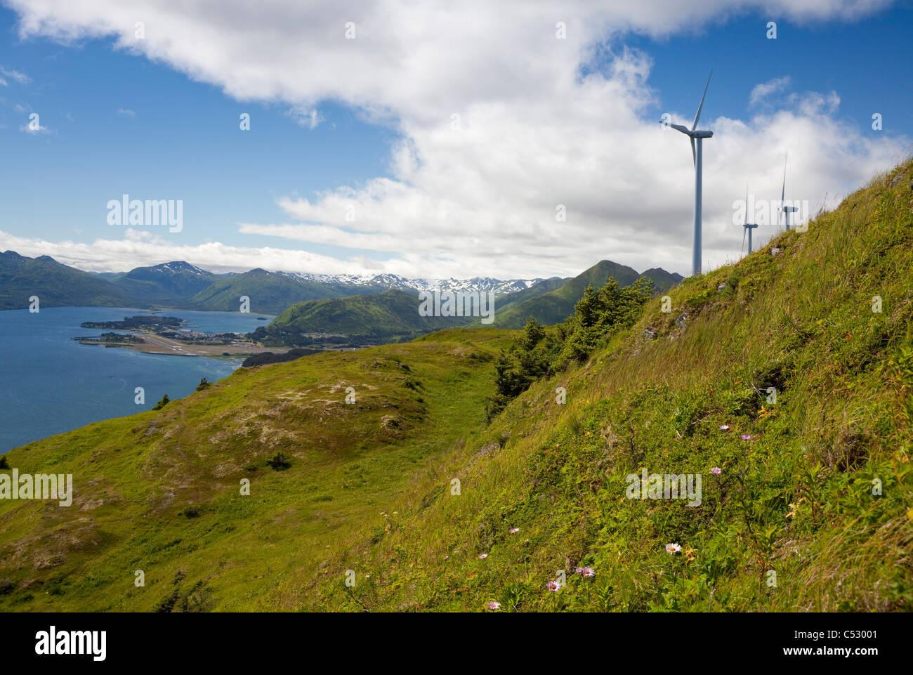 Wind turbines on Pillar Mountain for the Pillar Mountain Wind Project, Kodiak Island, Alaska Stock Photo