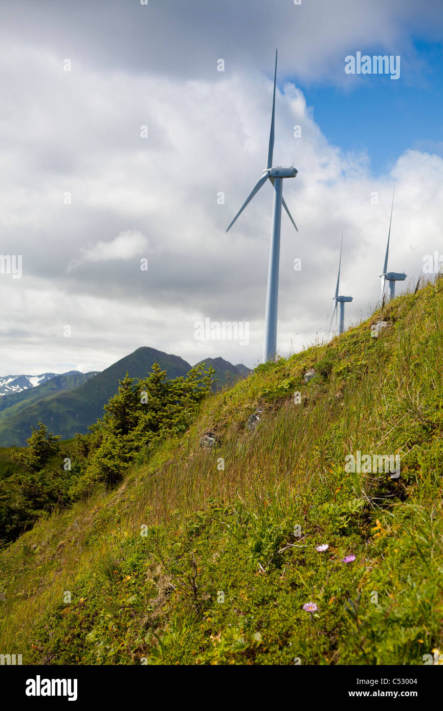 Wind turbines on Pillar Mountain for the Pillar Mountain Wind Project, Kodiak Island, Alaska Stock Photo