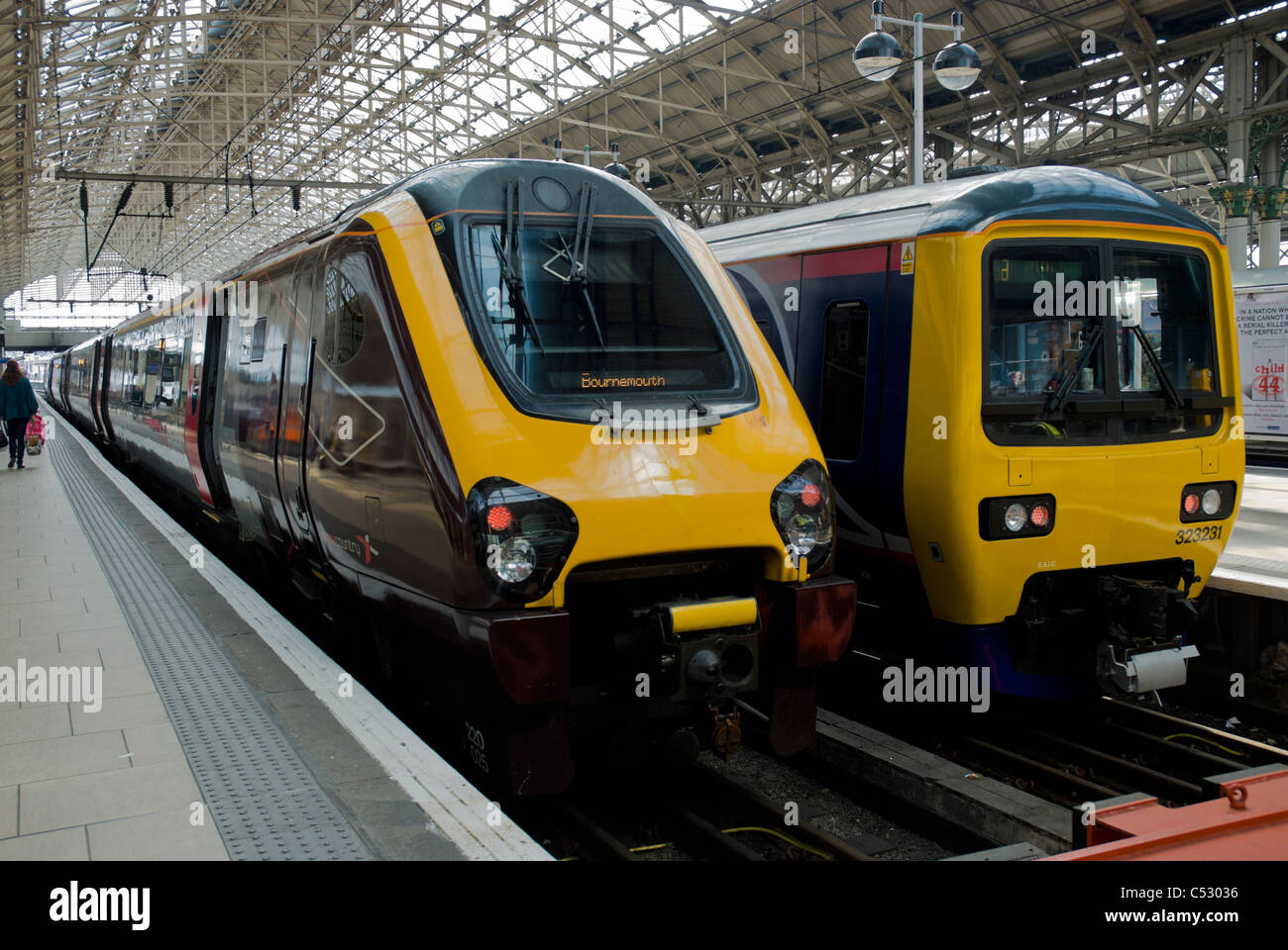 'Voyager' higher speed train preparing to depart from the station. - Stock Image