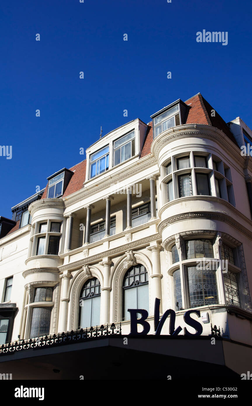 BHS logo, store and awning; BHS is a UK department store. Victorian architecture. Features include oriel windows - Stock Image