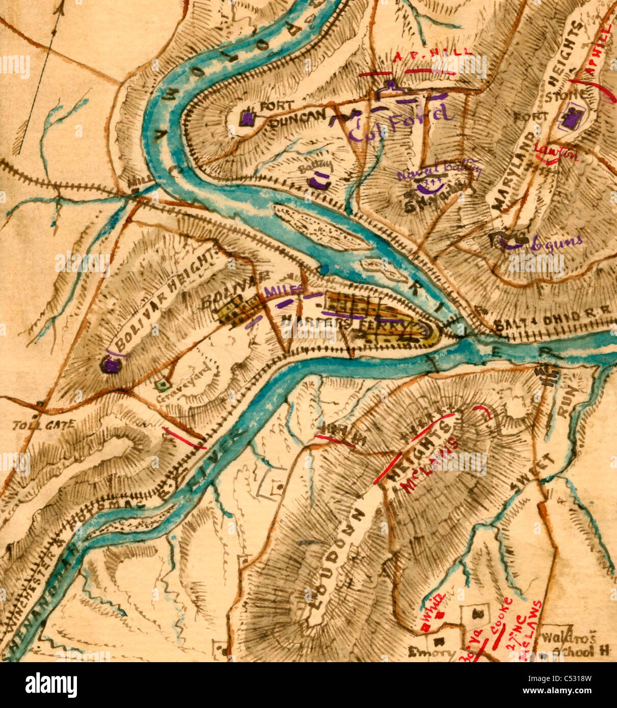 Harpers Ferry Virginia Map.Map Of Harper S Ferry Virginia With Troop Positions During The Usa