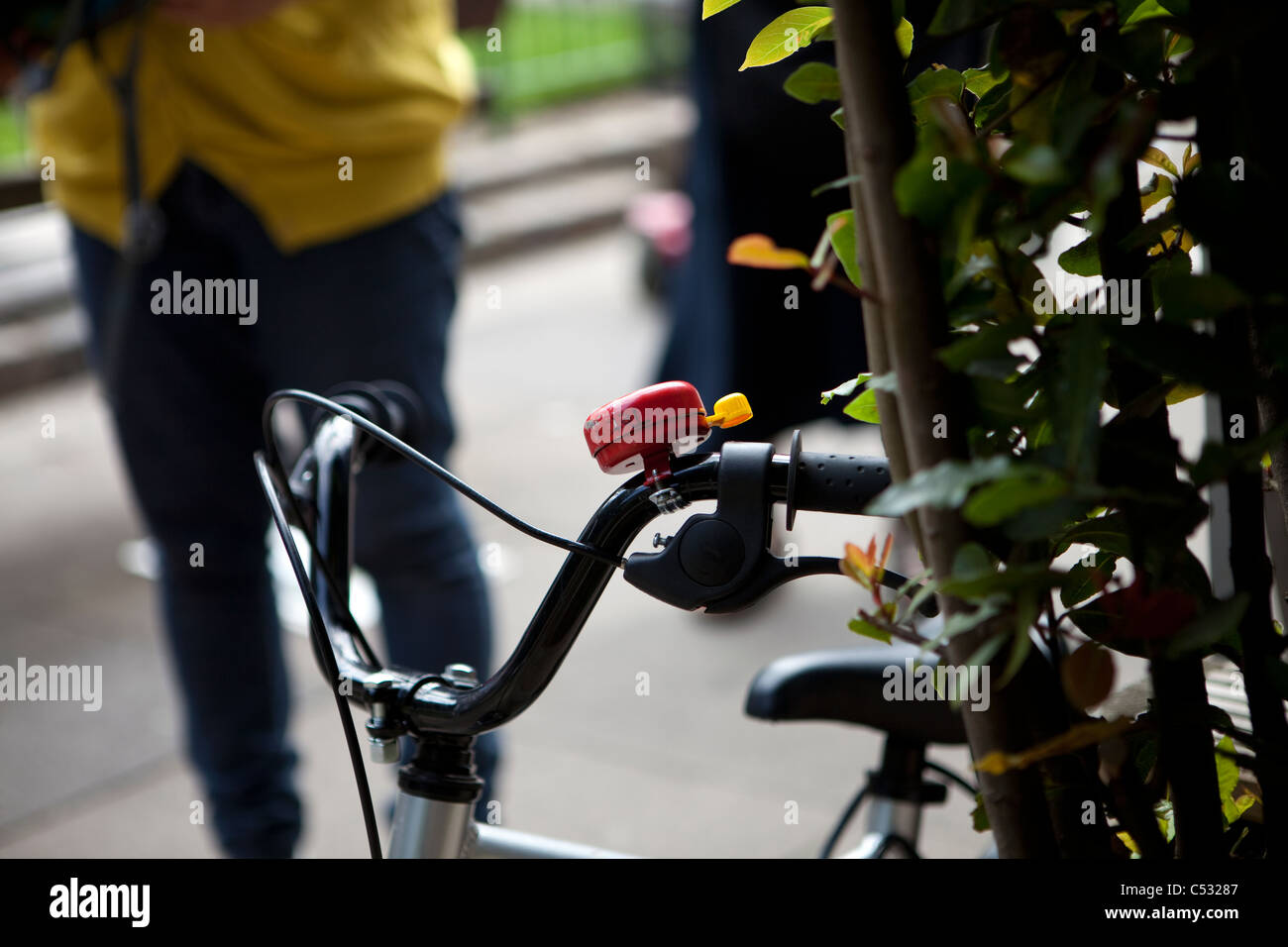 Child's Bicycle with bell on handlebars - Stock Image