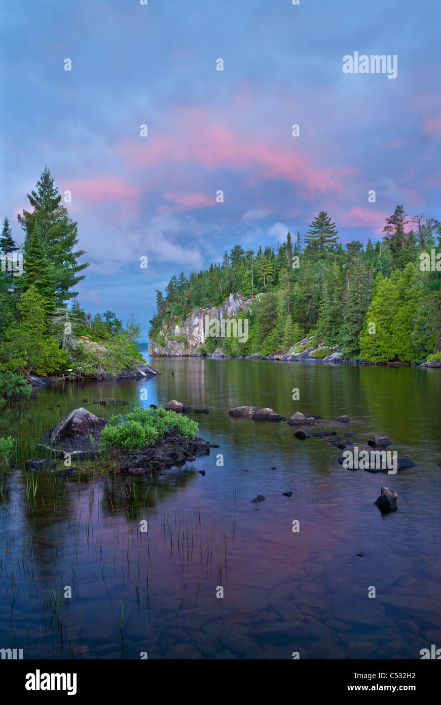 Sea Gull Lake at sunrise, Boundary Waters Canoe Area Wilderness, Superior National Forest, Minnesota - Stock Image