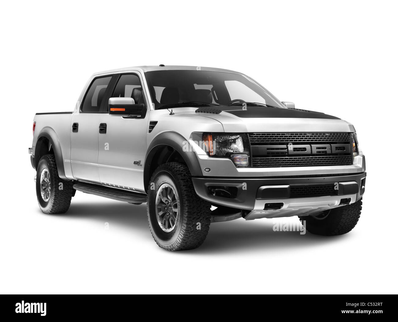 Silver 2011 Ford F-150 Raptor SVT truck isolated on white background with clipping path Stock Photo