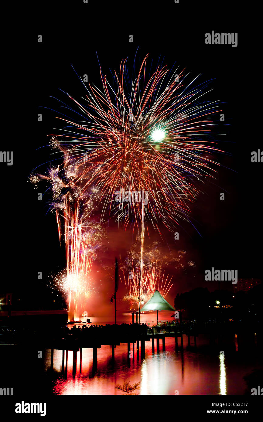 Fourth of July Fireworks, Orlando, Florida, Cranes Roost Stock Photo