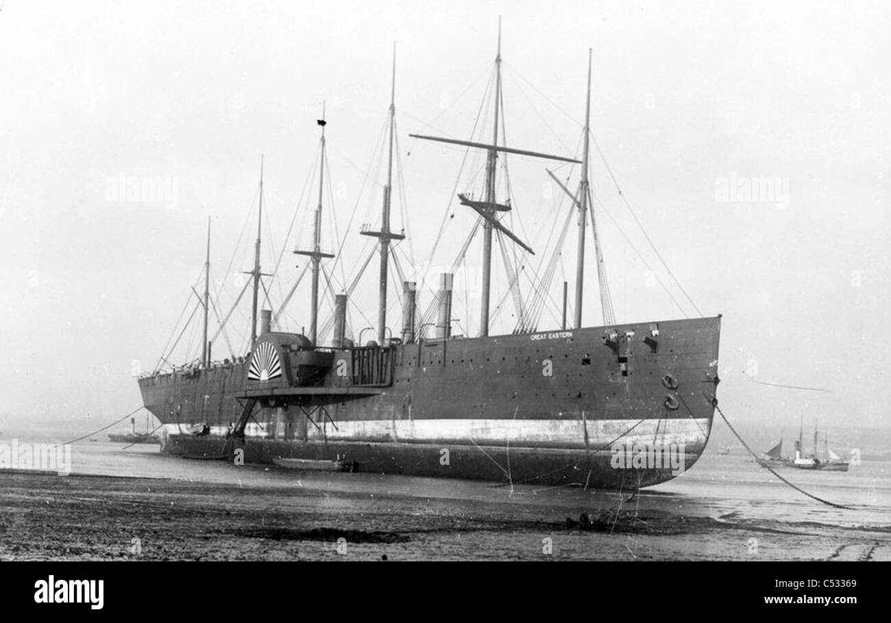 SS GREAT EASTERN designed by Isambard Brunel beached at Rock Ferry on the River Mersey, Liverpool, before demolition - Stock Image