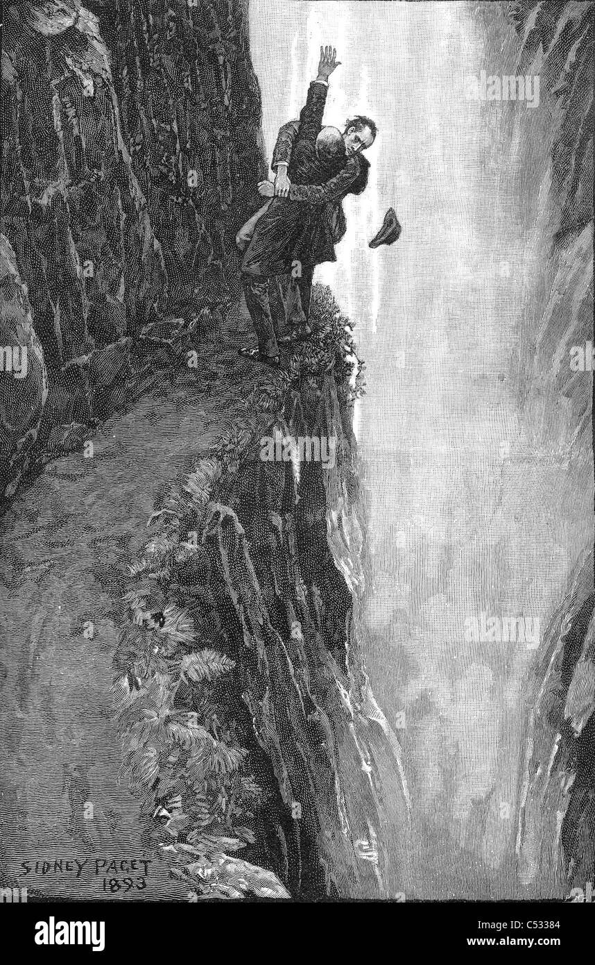SHERLOCK HOLMES and Moriarty fighting over the Reichenbach Falls drawn by Sidney Paget for 'The Final Problem' - Stock Image