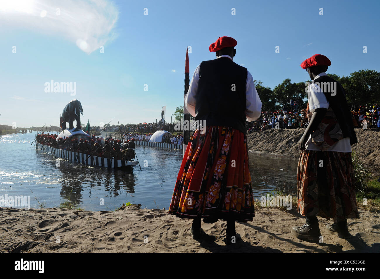 ZAMBIA Barotseland , Kuomboka ceremony, the Lozi king change his residence from Lealui to his palace in Limulunga - Stock Image