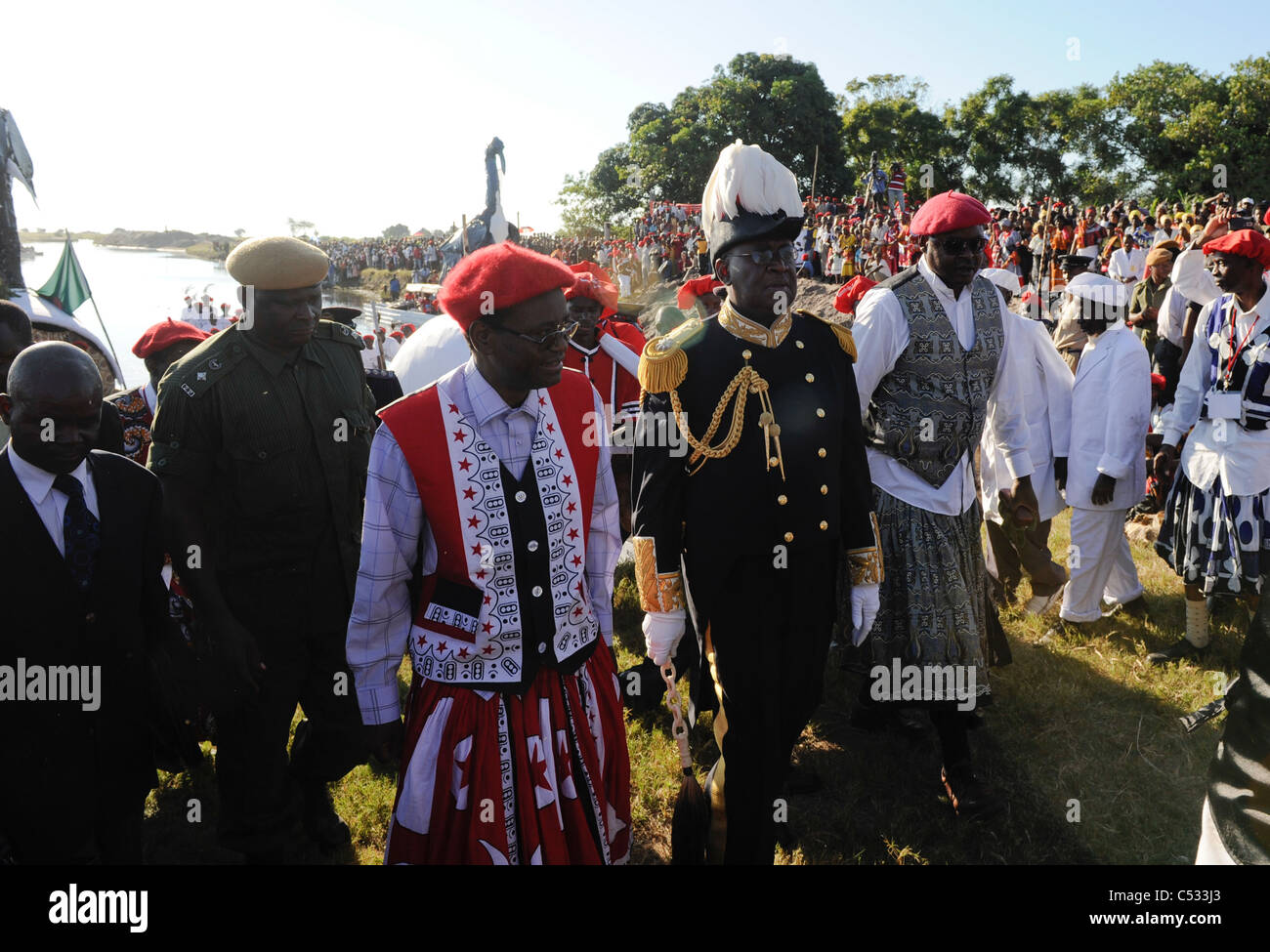 ZAMBIA Barotseland , Kuomboka ceremony, the Lozi king Litunga Lubosi Imwiko change his residence from Lealui to - Stock Image