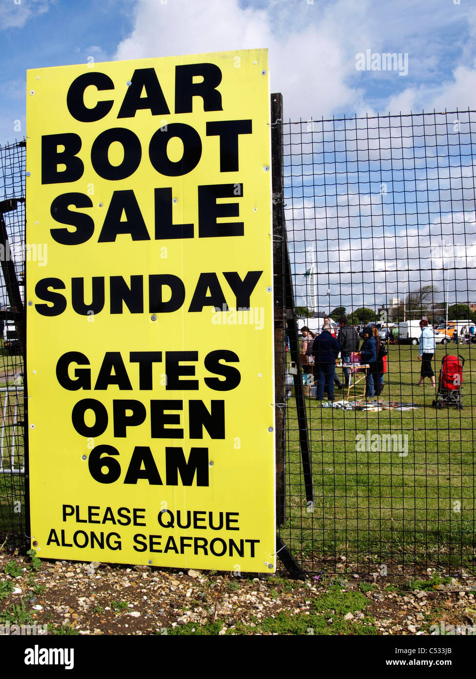 large sign advertising weekly car boot sale on southsea seafront uk - Stock Image