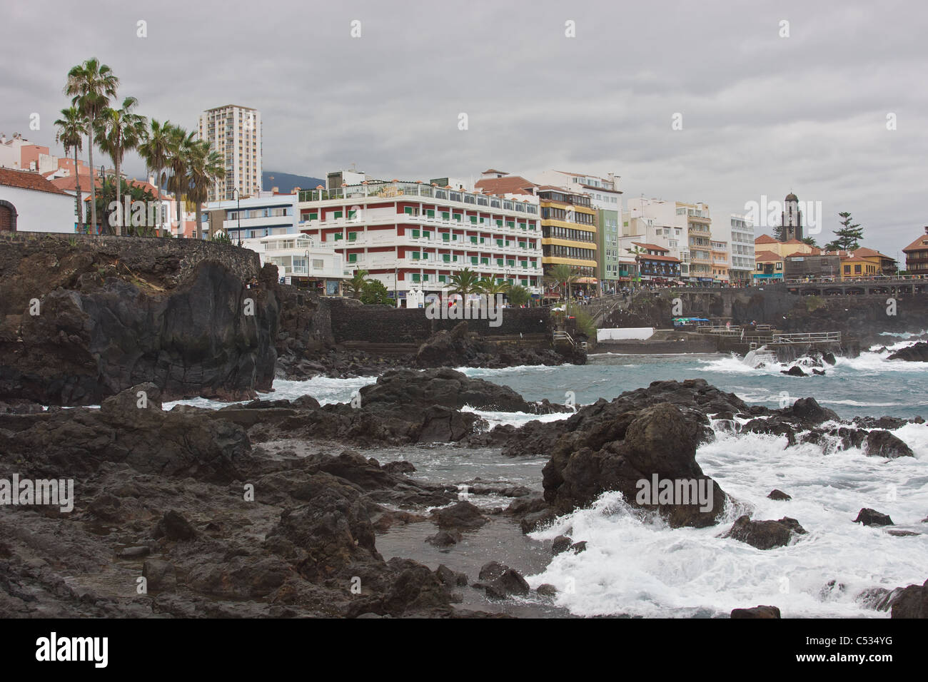 Volcanic coast of San Telmo in Puerto de la Cruz (Spain) Stock Photo