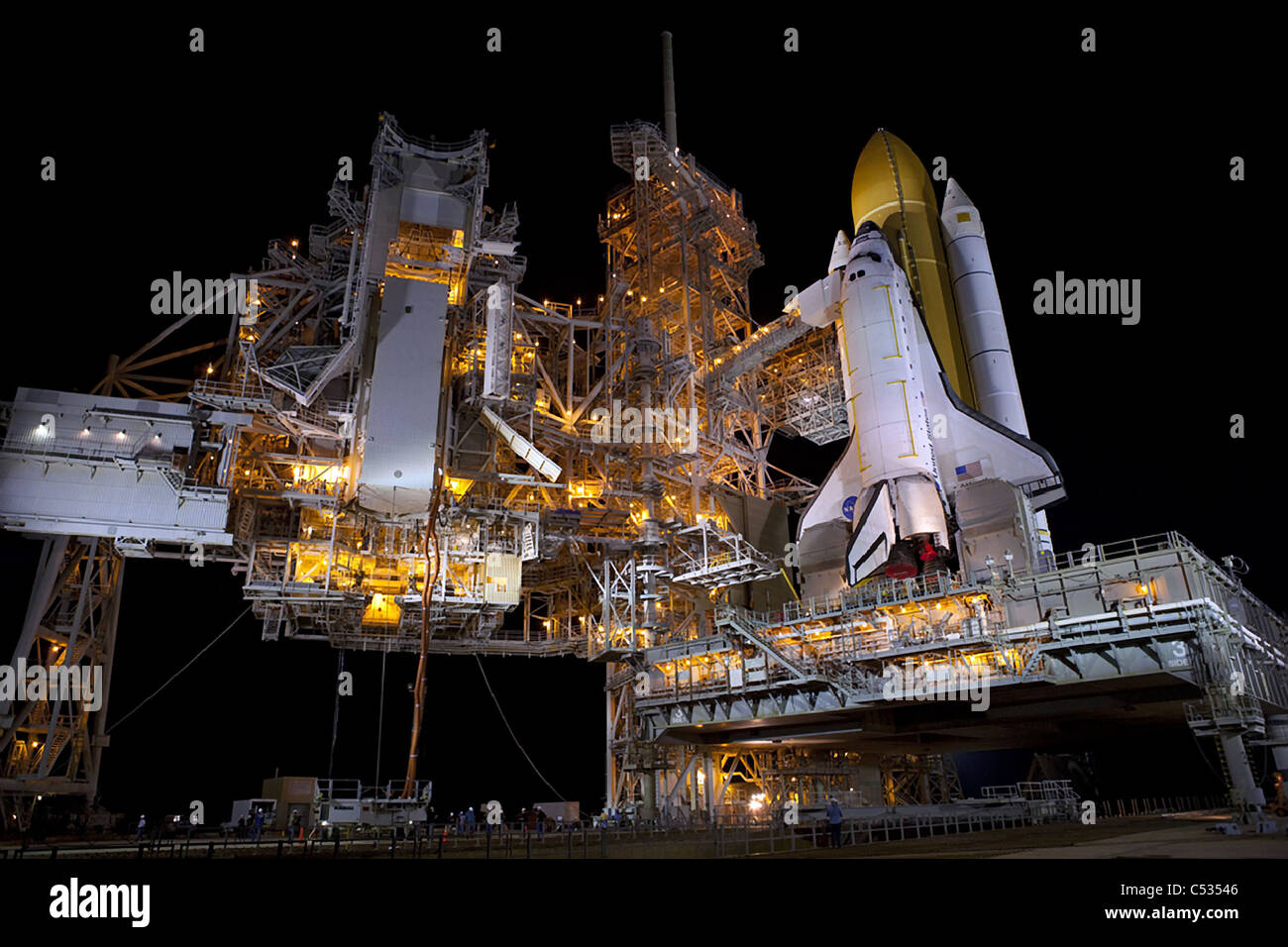 Atlantis STS-135, the final space shuttle mission on Launch Pad 39A at NASA's Kennedy Space Center in Florida. - Stock Image