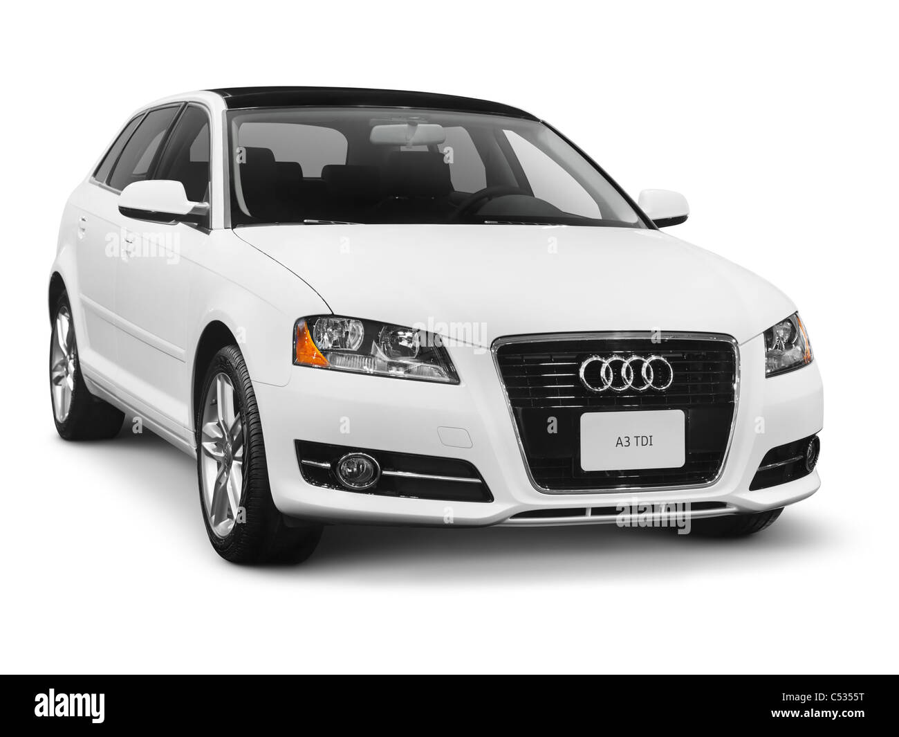 White 2011 Audi T3 TDI small family car. Isolated on white background with clipping path. - Stock Image