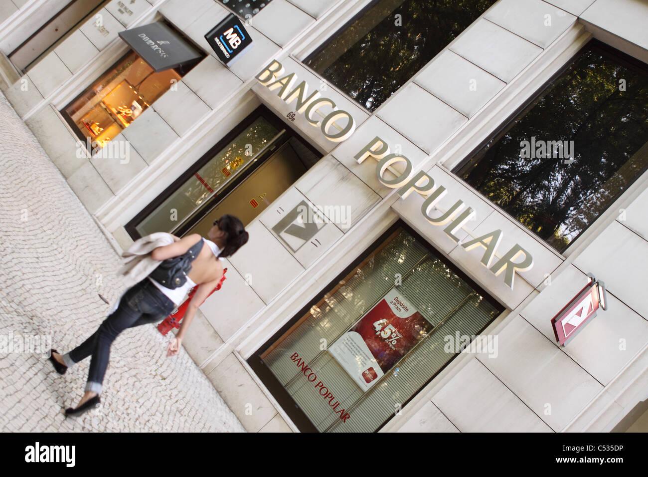 Lisbon Portugal bank Banco Popular branch - Stock Image