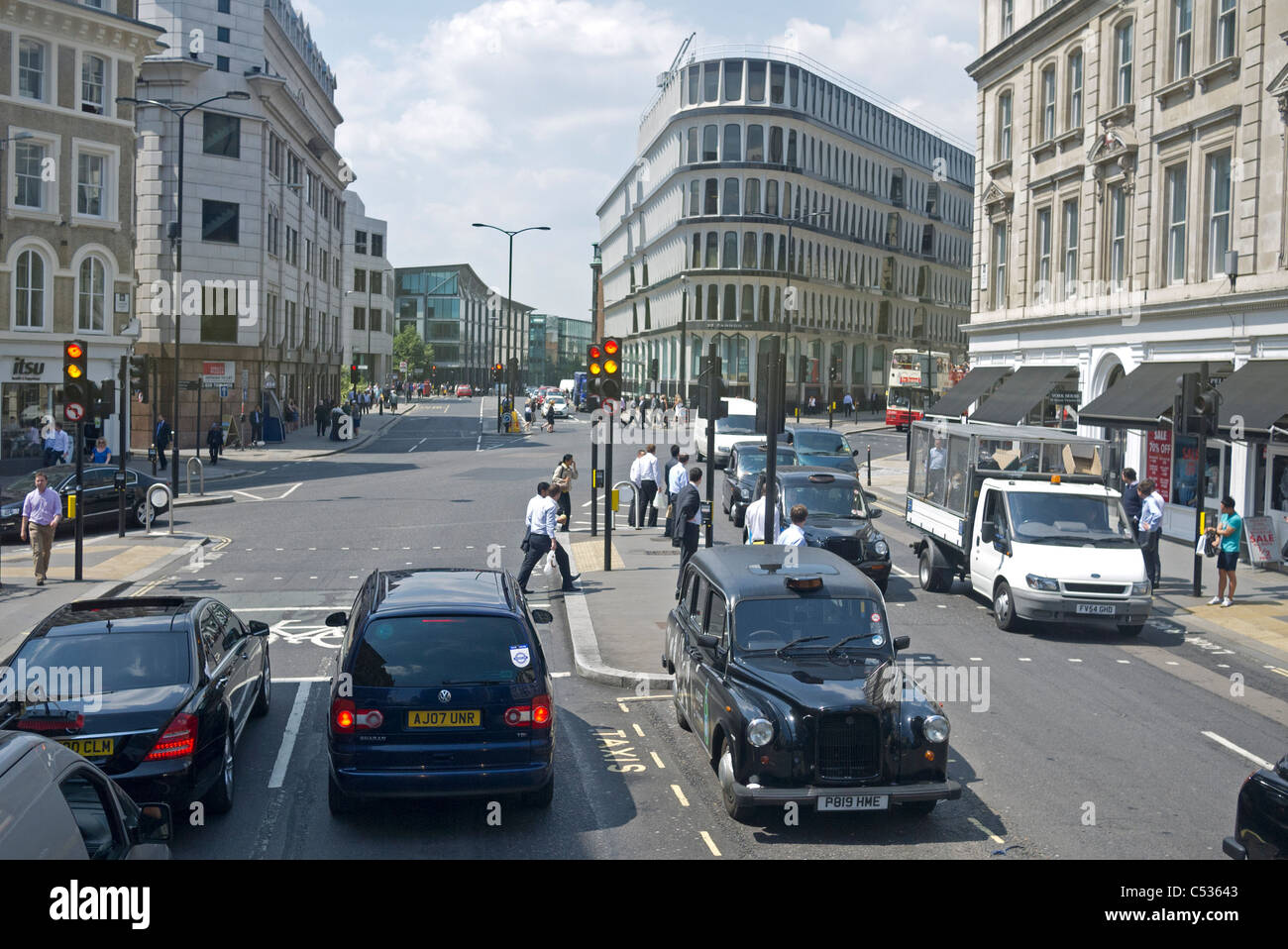 Cannon Street and Queen Victoria Street junction road  in the cIty of London GB UK - Stock Image