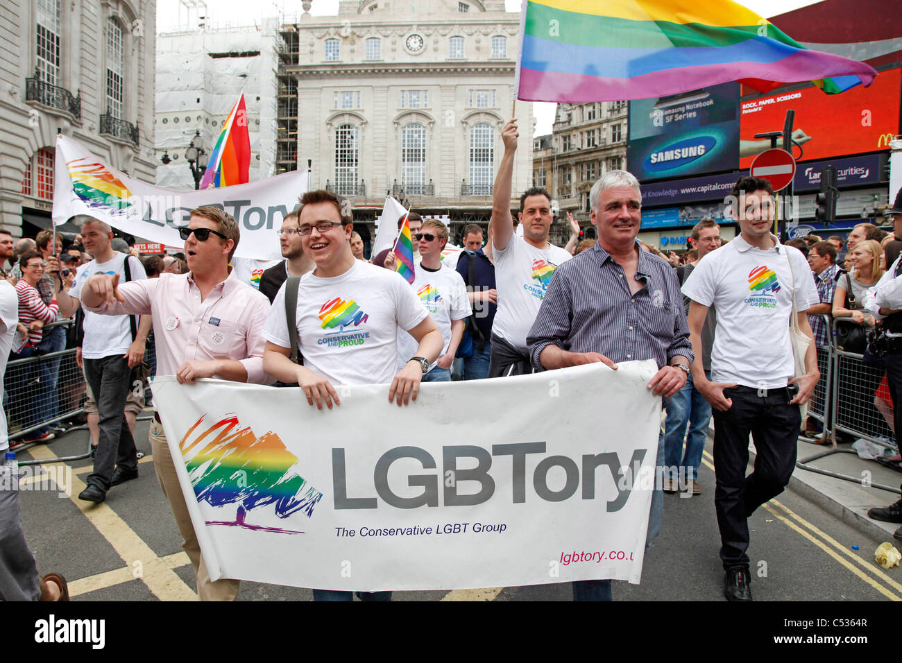 LGBT Tory participants in the London Gay Pride Parade 2011 - Stock Image