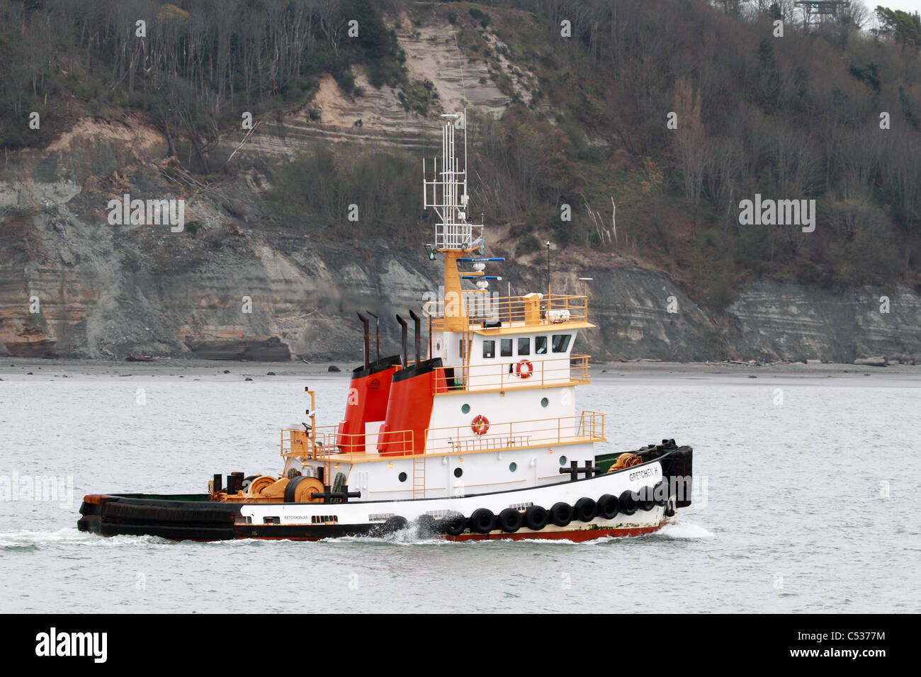 The Gretchen H tug boat traveling Puget Sound inland waterway - Stock Image