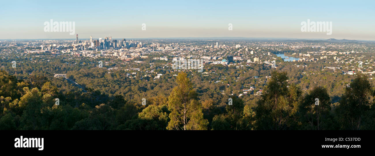 Brisbane city from Mt. Cootha lookout, Queensland, Australia - Stock Image
