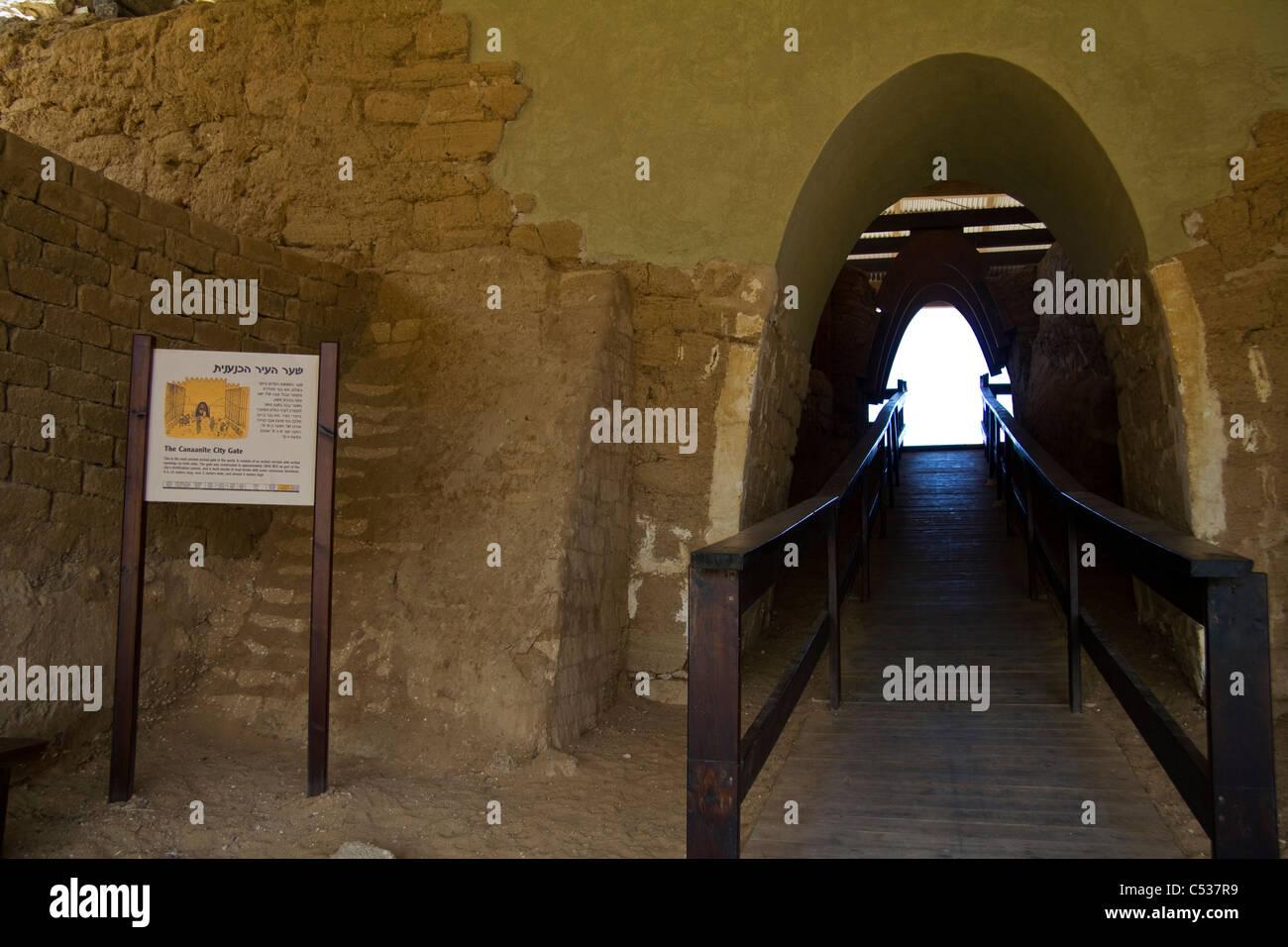 Canaanite gate Ashqelon Ashkelon National Park, Israel - Stock Image