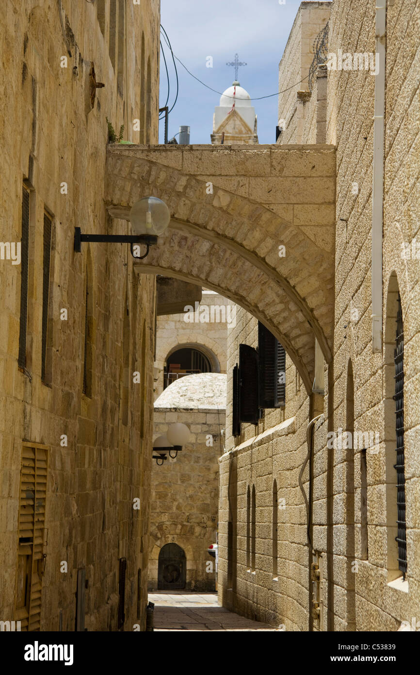 Narrow empty lane in Jerusalem Old City,  Israel - Stock Image