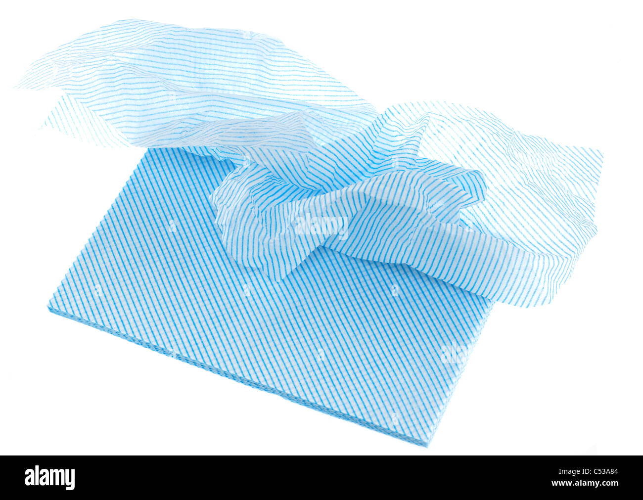 Pile of blue all purpose paper cloths - Stock Image