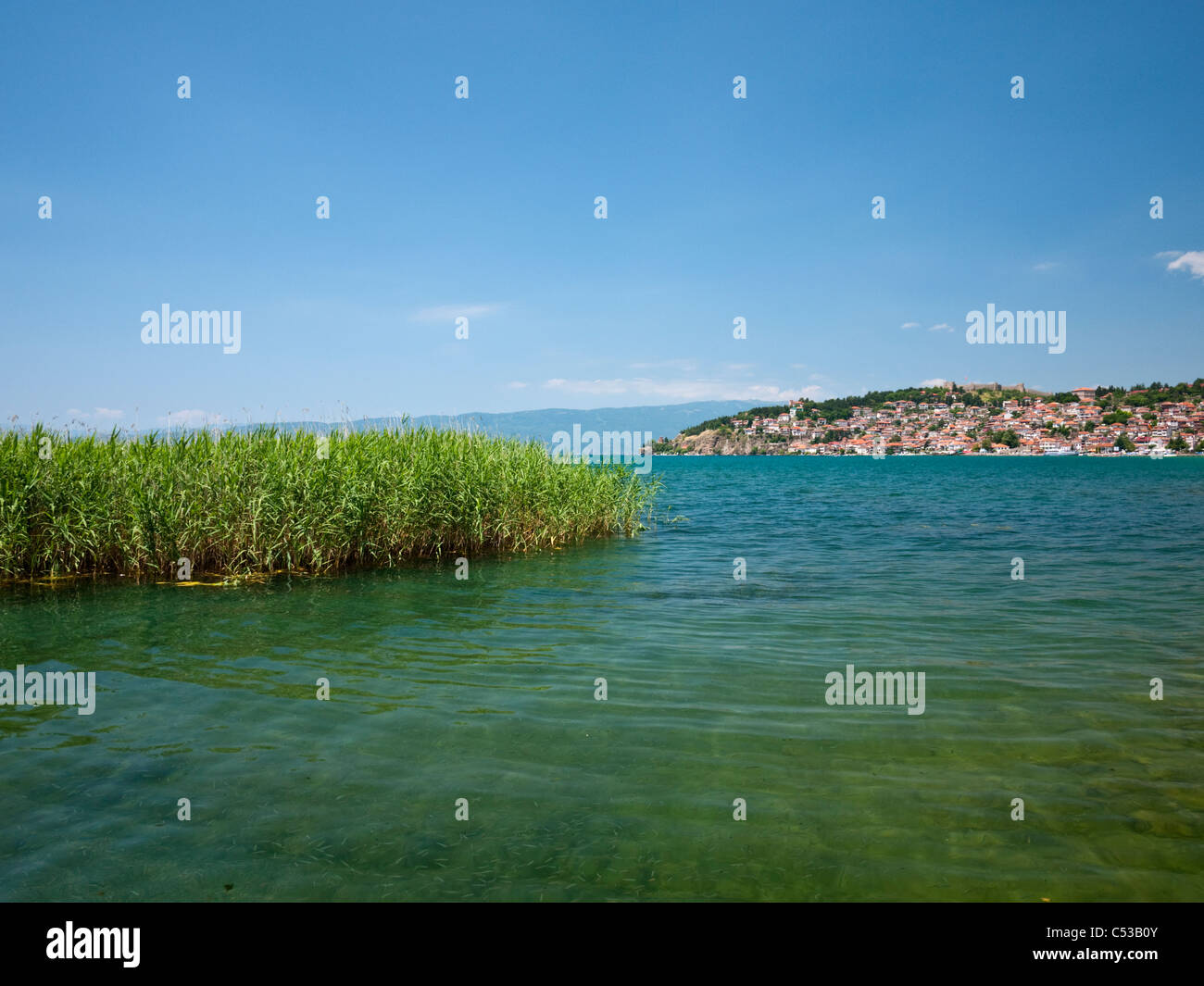The UNESCO World Heritage site of Ohrid lake and town in Macedonia - Stock Image
