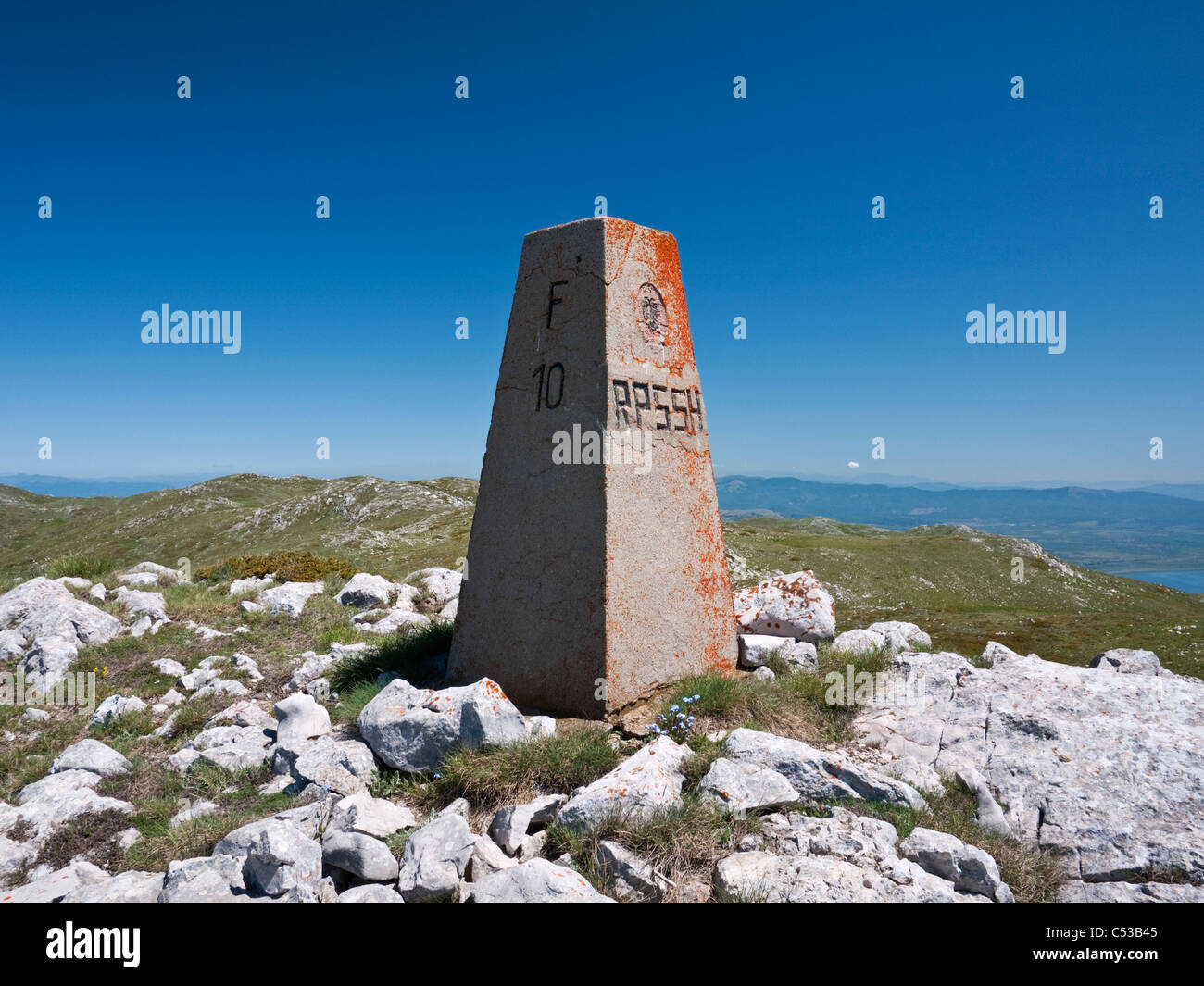 Kota F10 - at 2265m the highest point in Galičica National Park, Macedonia, forming the border with Albania - Stock Image