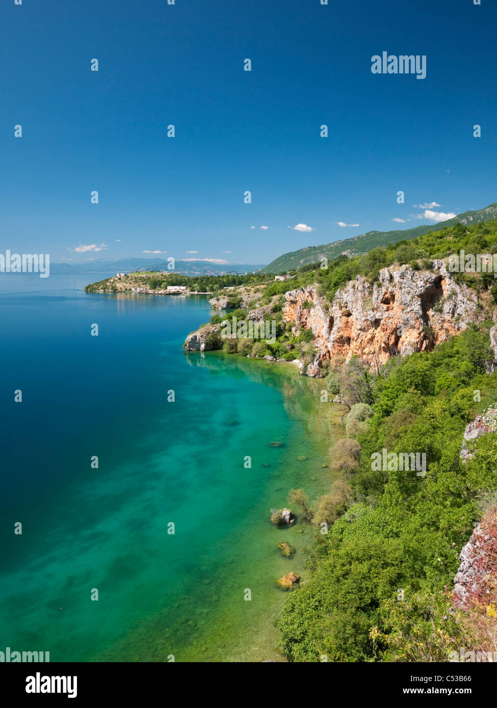 Lake Ohrid from near the village of Trpejca, in Galicica National Park, Macedonia - Stock Image