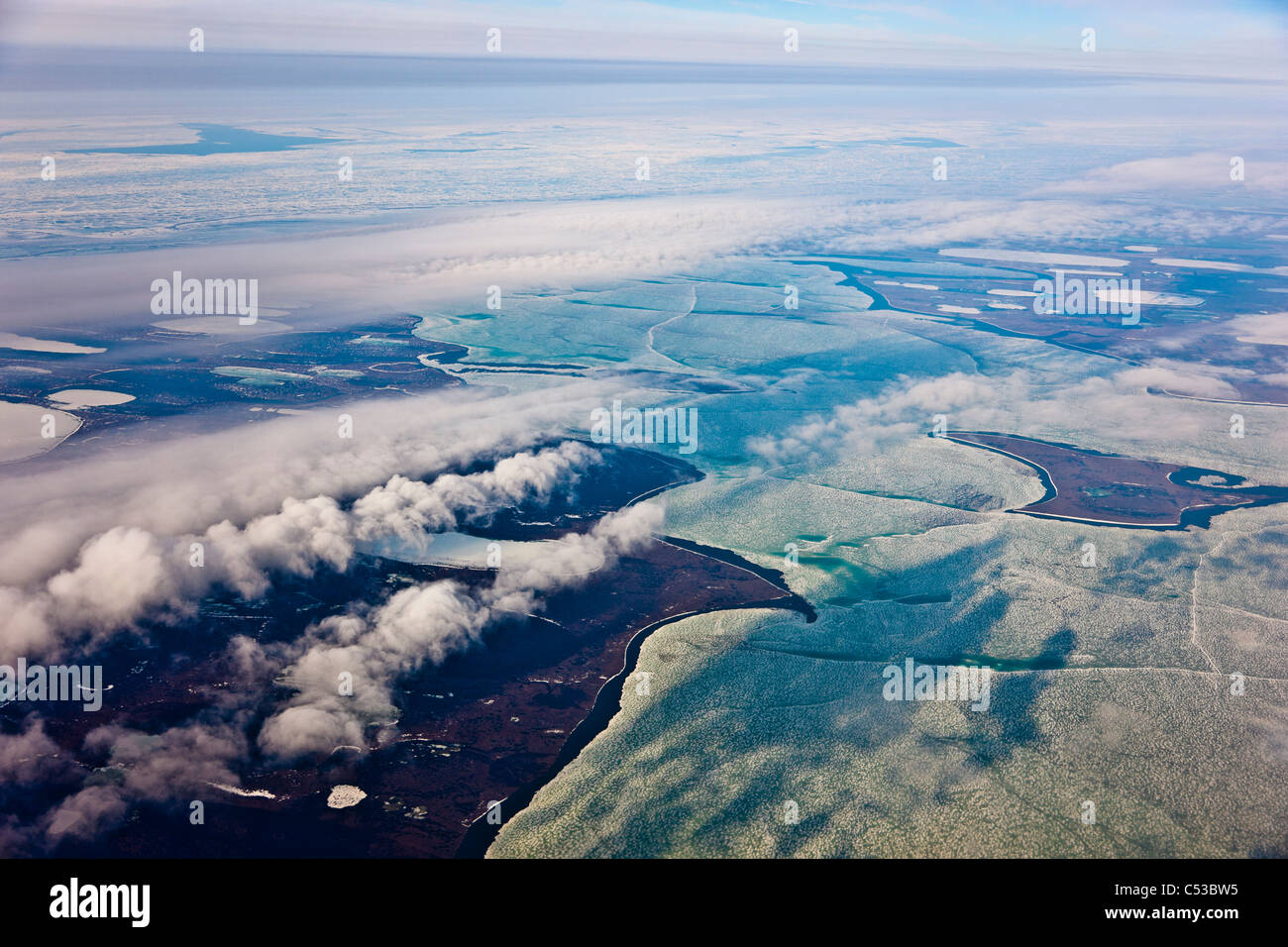 Aerial view of the North Slope Coastal Plain, Arctic Alaska, Summer - Stock Image