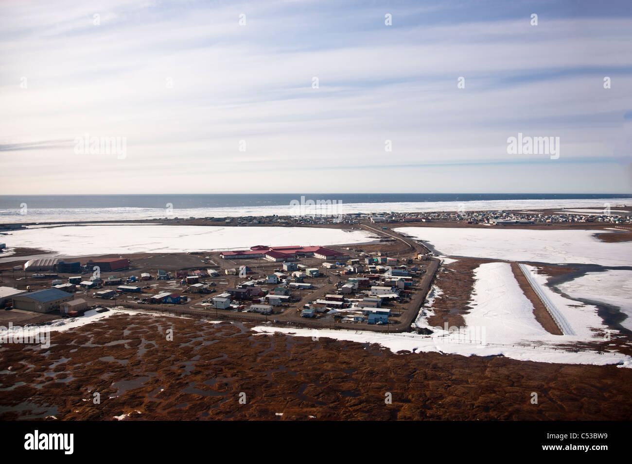 Aerial view of the city of Barrow on the North Slope Coastal Plain, Arctic Alaska, Summer - Stock Image