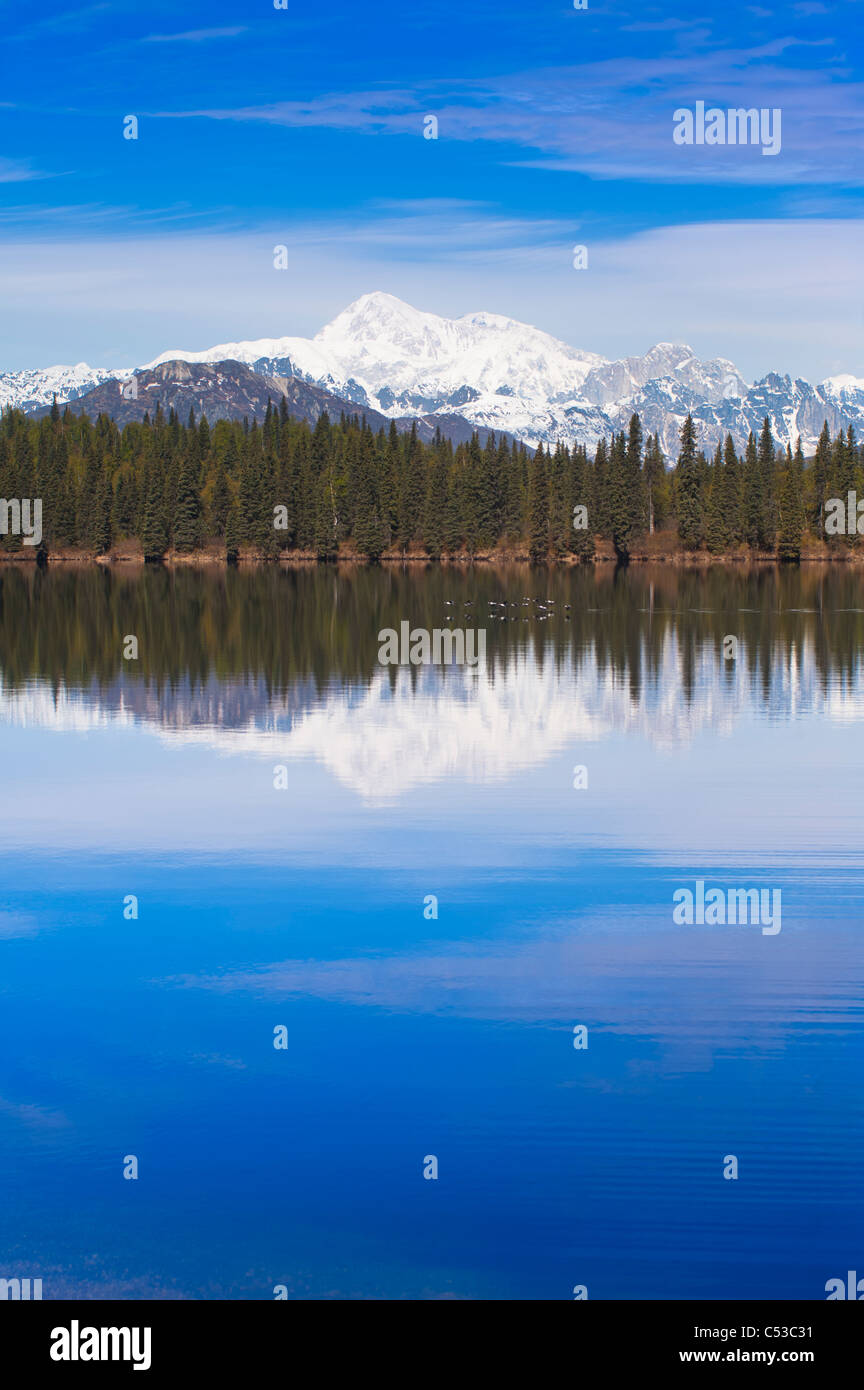 Scenic view of the south side of Mt. McKinley and Alaska Range with Byers Lake in the foreground, Southcentral Alaska, - Stock Image