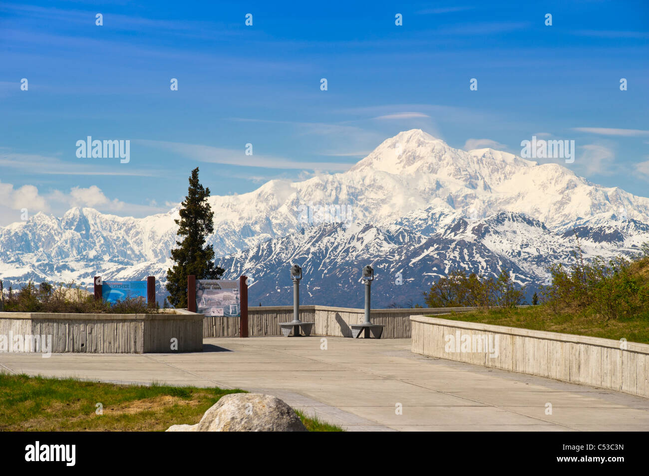 Alaska Range and Mount McKinley as seen from the Parks Highway and Susitna River look out, Alaska - Stock Image
