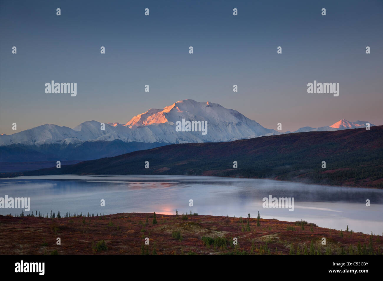 Scenic landscape of Mt. McKinley and Wonder lake in the morning, Denali National Park, Interior Alaska, Autumn. - Stock Image