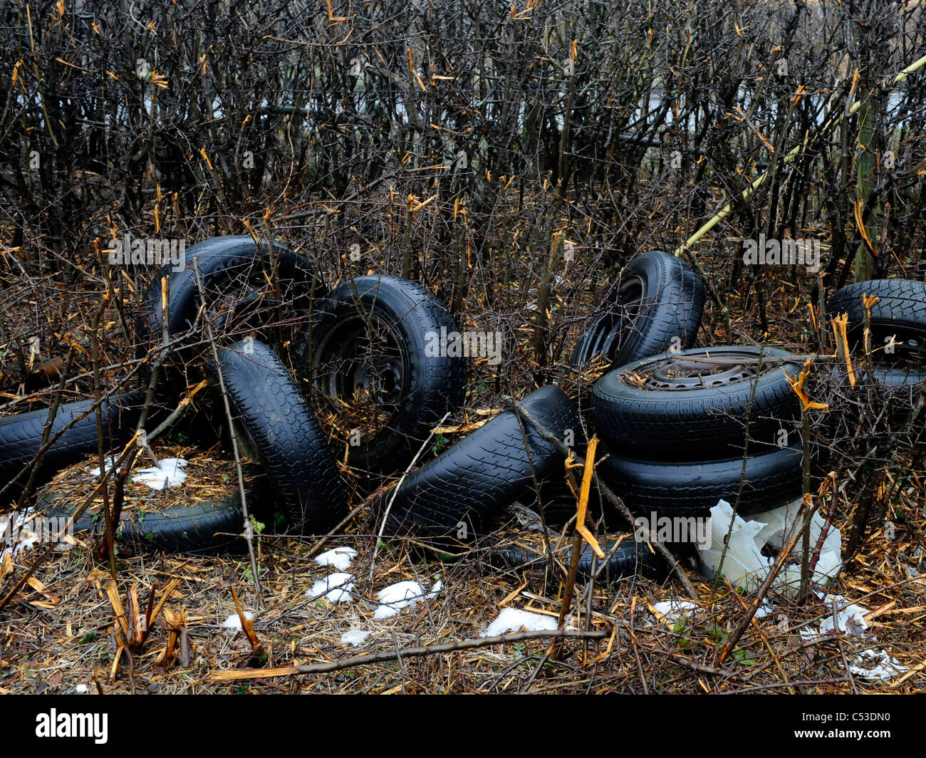 Old tyres illegally dumped on farmland, in the countryside. - Stock Image
