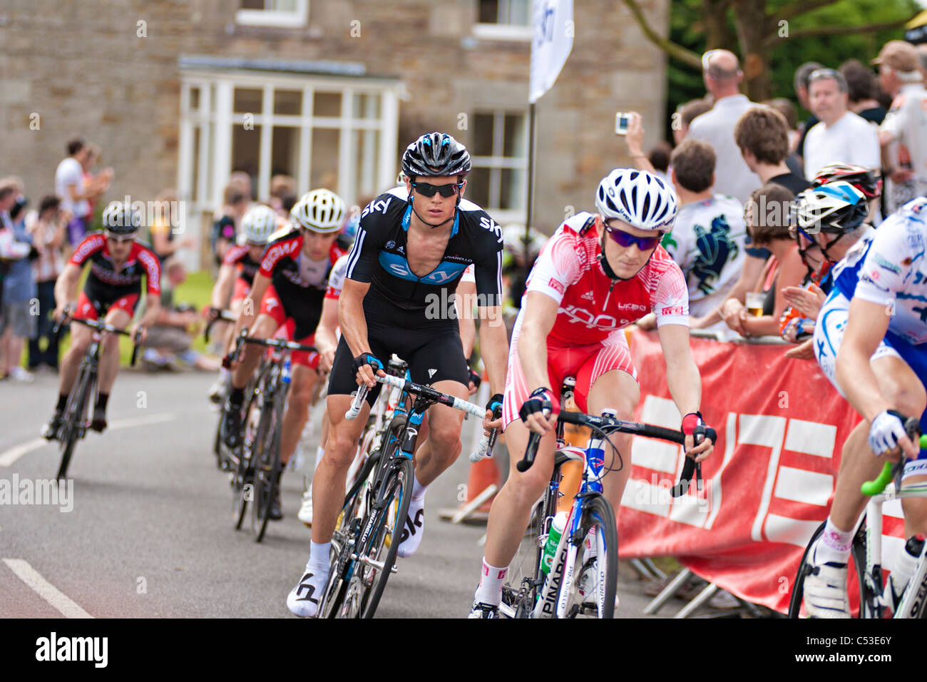 riders passing on the last lap in the 2011 British National Road cycling Championship - Stock Image