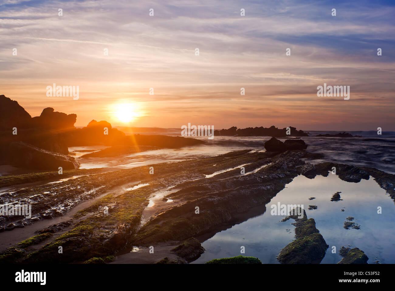 Beach in Santa Cruz, Torres Vedras, Portugal, Europe - Stock Image