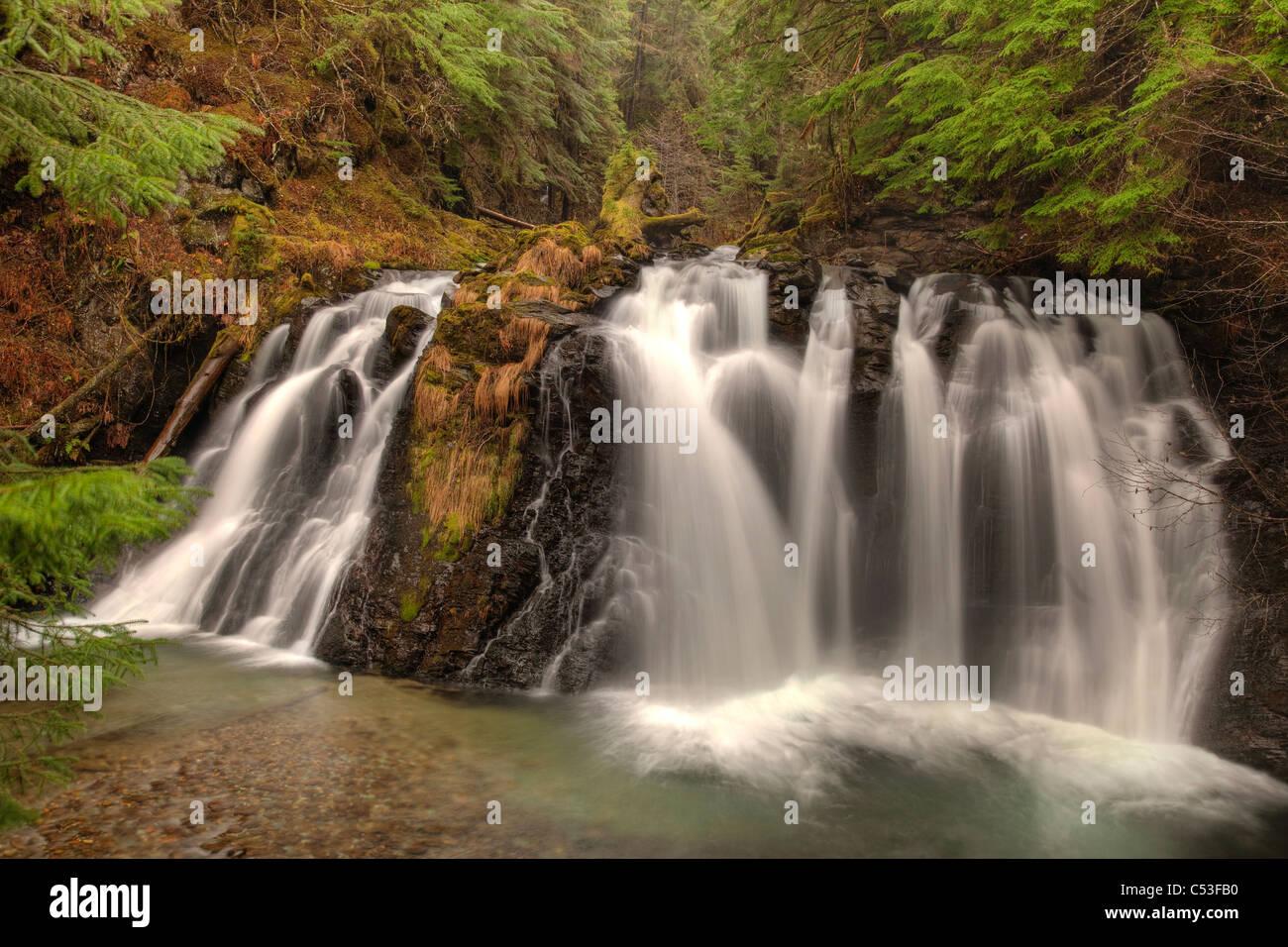 Blurred motion of Salmon Creek Falls near Juneau, Southeast Alaska, Summer. HDR - Stock Image