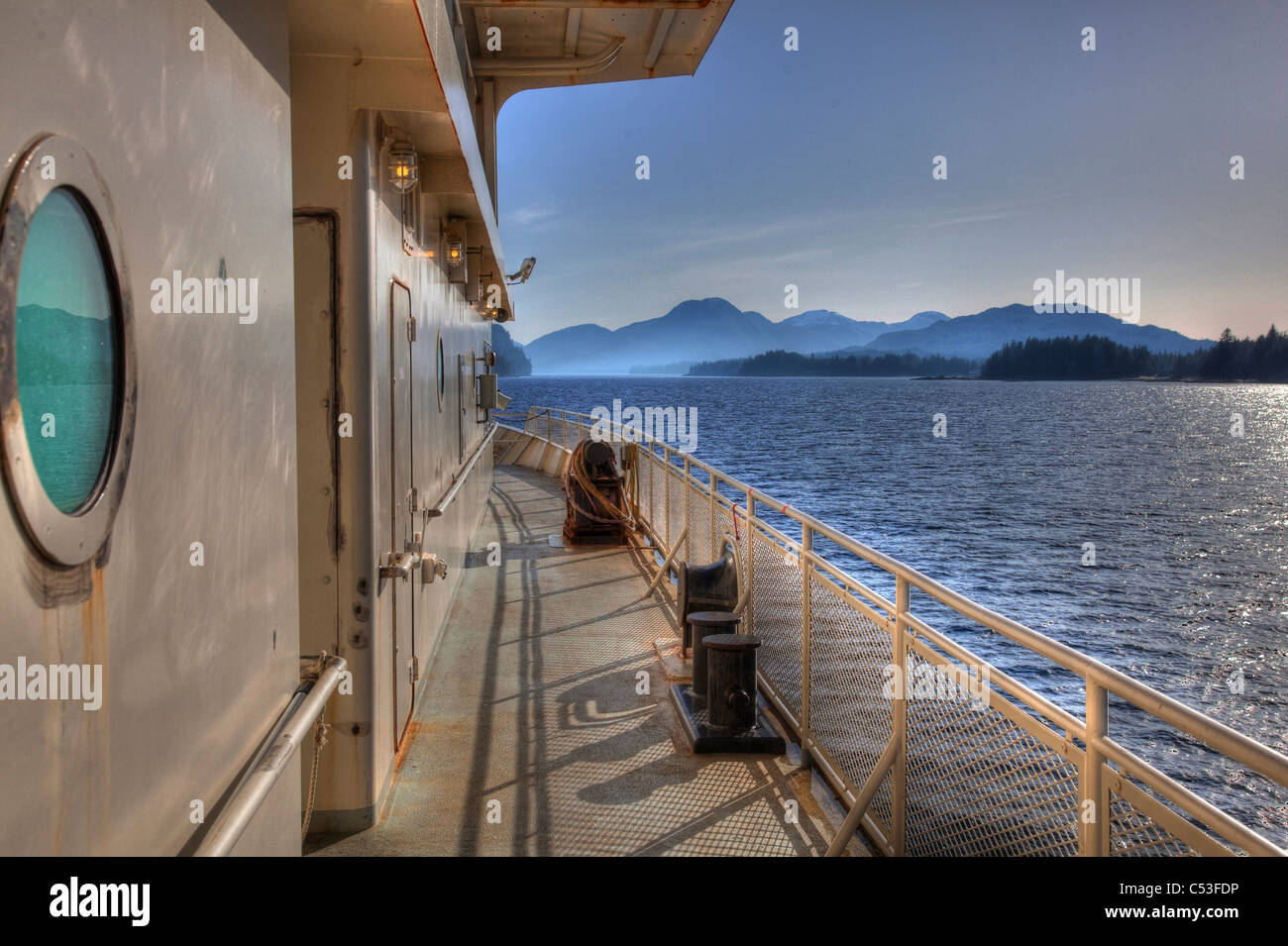 View of an inter-island ferry bound for Metakatla with scenic views of Southeast Alaska's Inside Passage. - Stock Image