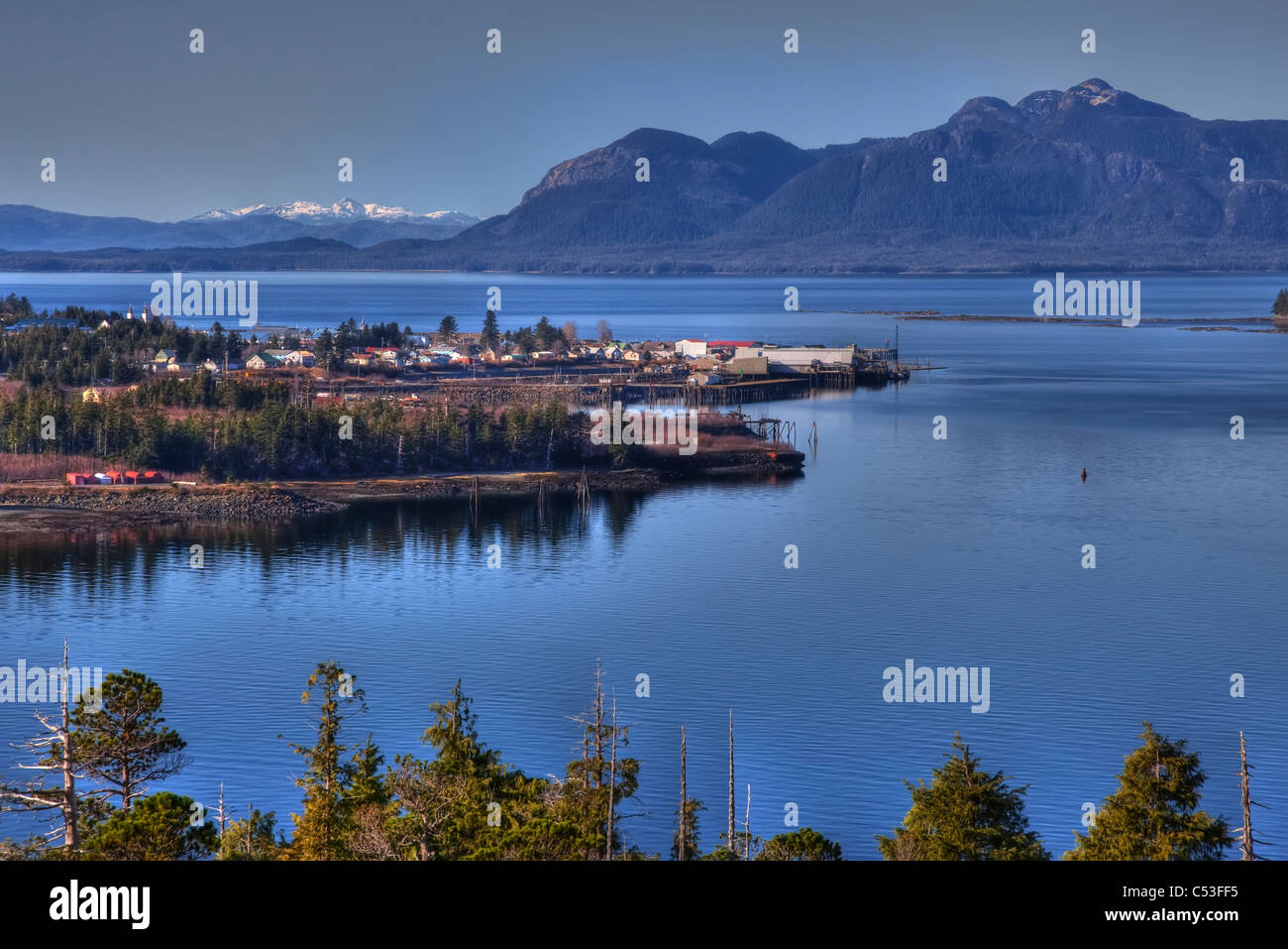 View of Metlakatla, Annette Island, and surrounding coastal area, Inside Passage, Southeast Alaska, Spring. HDR - Stock Image