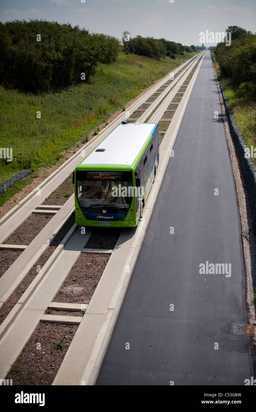 Guided bus on new guided busway running from Cambridge to St Ives. Brand new public transport technology. Stock Photo