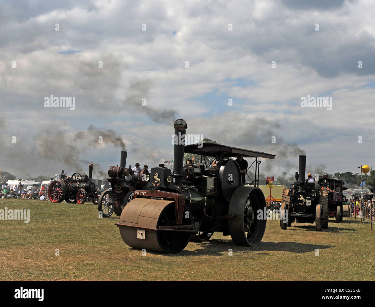 Steam traction engines at a Steam Rally. - Stock Image