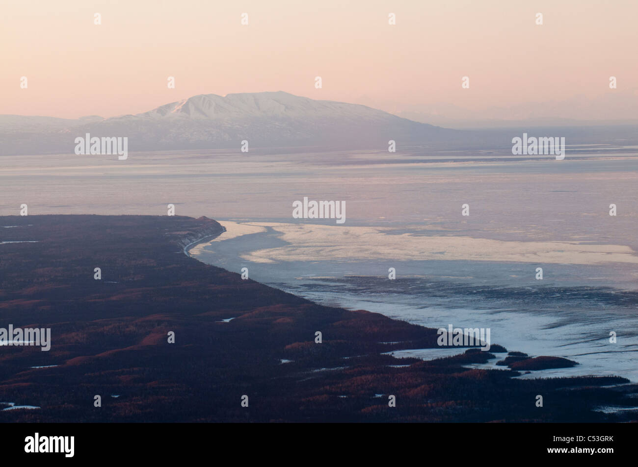 Aerial view of Cook Inlet and Mt. Susitna from the Kenai National Wildlife Test  Refuge at sunset, Southcentral - Stock Image
